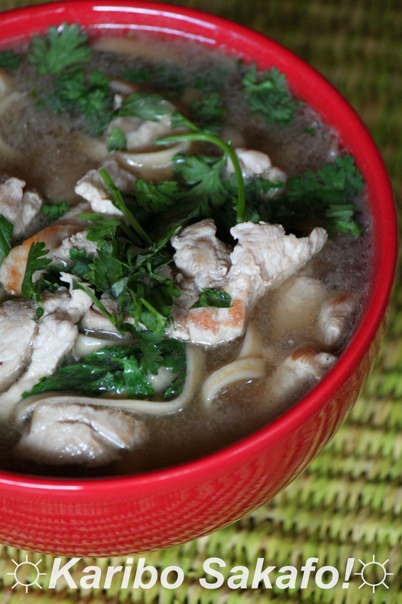 Soupe de nouilles pimentée, au porc et au gingembre