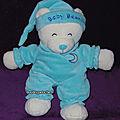 Doudou ours gipsy velours,bleu turquoise,lune brodée, www.doudoupeluche.fr