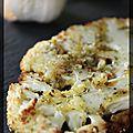 P'tites tranches de chou-fleur rôties, sauce à l'origan, ail et zestes de citron