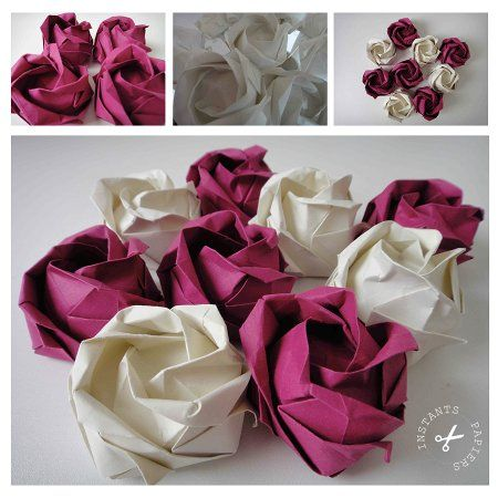 fleurs en papier bouquet de rose en origami instants papiers. Black Bedroom Furniture Sets. Home Design Ideas