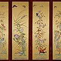 Quatre panneaux à décor des quatre saisons, vietnam, tonkin, début du 20° siècle