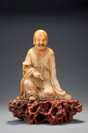 A_large_carved__huang_furong__figure_of_a_luohan
