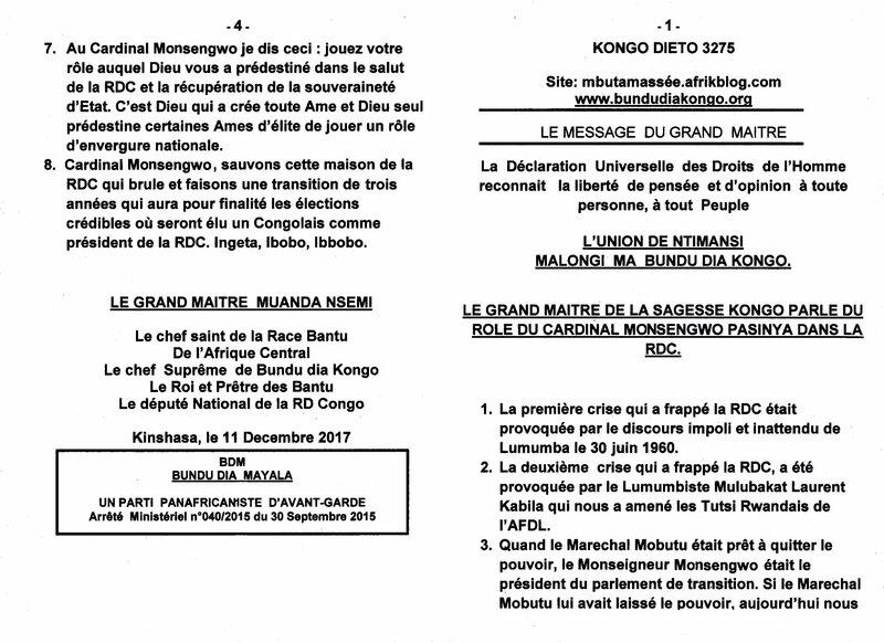 LE GRAND MAITRE DE LA SAGESSE KONGO PARLE DU ROLE DU CARDINAL MONSENGWO PASINYA DANS LA RDC a