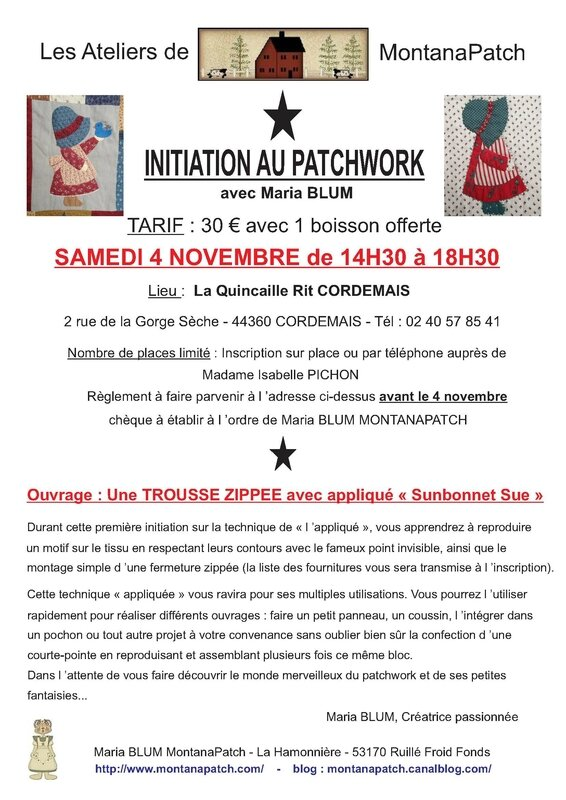 Grande AFFICHE Initiation patchwork