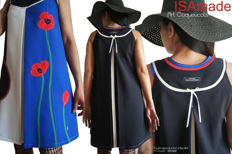 MOD 432B robe trapeze createur bleu blanc rouge graphique fleurie coquelicot made in france