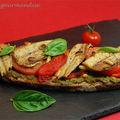 Bruschetta aux sardines, poivron rouge et pesto