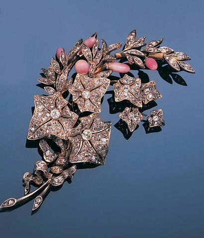 A late 19th century diamond and conch pearl spray brooch, circa 1880