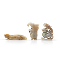 Three archaistic jade carvings of mystical creatures, china, qing dynasty (1644-1912) or slightly later