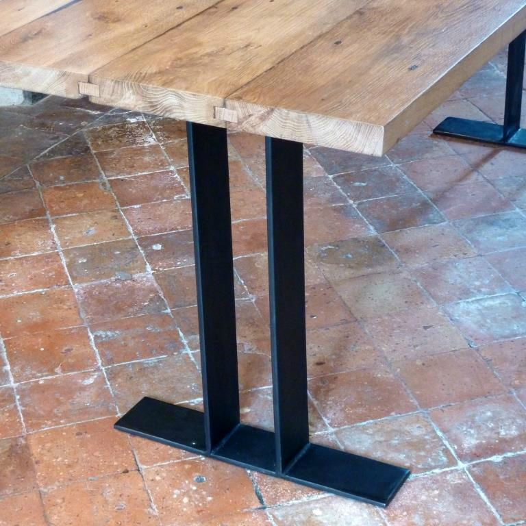 Table 120x120 rallonges 50x120 x2 table g ante 120x220 - Table chene acier ...