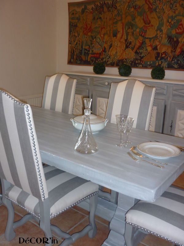 Table de salle manger relook e avant apr s decor 39 in for Salle a manger blanche patine