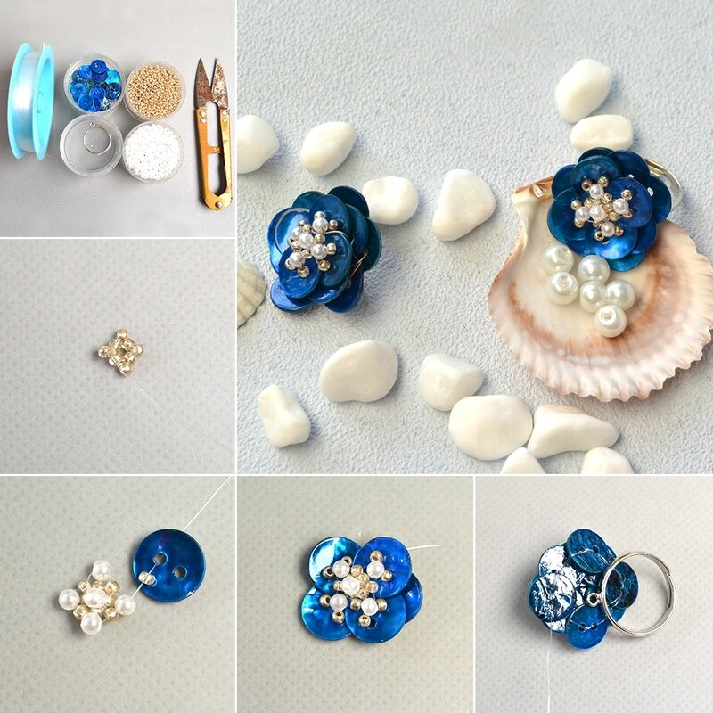 1080-Pandahall-Original-DIY--How-to-Make-Handmade-Blue-Button-Flower-Rings-with-Pearls-and-Seed-Beads