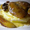 Canard confit, pommes caramélisées et sauce au cidre