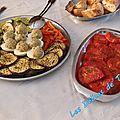 Légumes grillés à l'italienne, oeufs farcis au thon