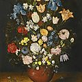 Jan brueghel the elder (brussels 1568 - 1625 antwerp), still life with irises, tulips, roses, narcissi and fritillary...