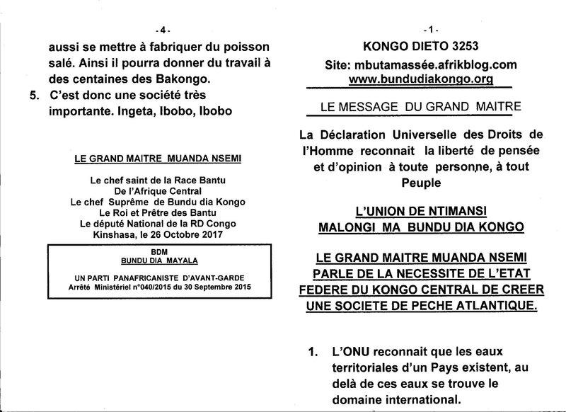 LE GRAND MAITRE MUANDA NSEMI PARLE DE LA NECESSITE DE L'ETAT FEDERE DU KONGO CENTRAL DE CREER UNE SOCIETE DE PECHE ATLANTIQUE a
