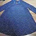Robe LAURETTE en polyester marine à pois blancs (2)