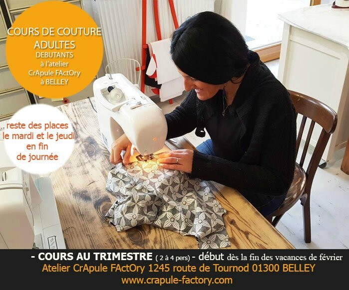 COURS DE COUTURE ADULTES DEBUTANTS COURS INDIVIUEL COURS AU TRIMESTRE A BELLEY 01300 ATELIER CRAPULE FACTORY