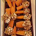 Bâtonnets de carotte, fromage frais et riz soufflé