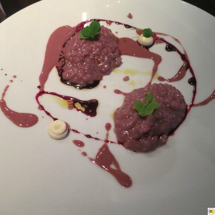 Risotto vin rouge et foie gras, pointe de parmesan (2)