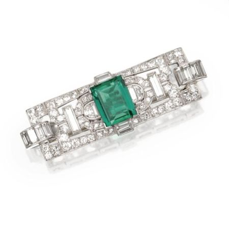 Platinum__Emerald_and_Diamond_Brooch__Circa_1930