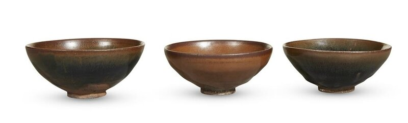 Three Chinese Jian-type russet and black-glazed small teabowls, Southern Song dynasty