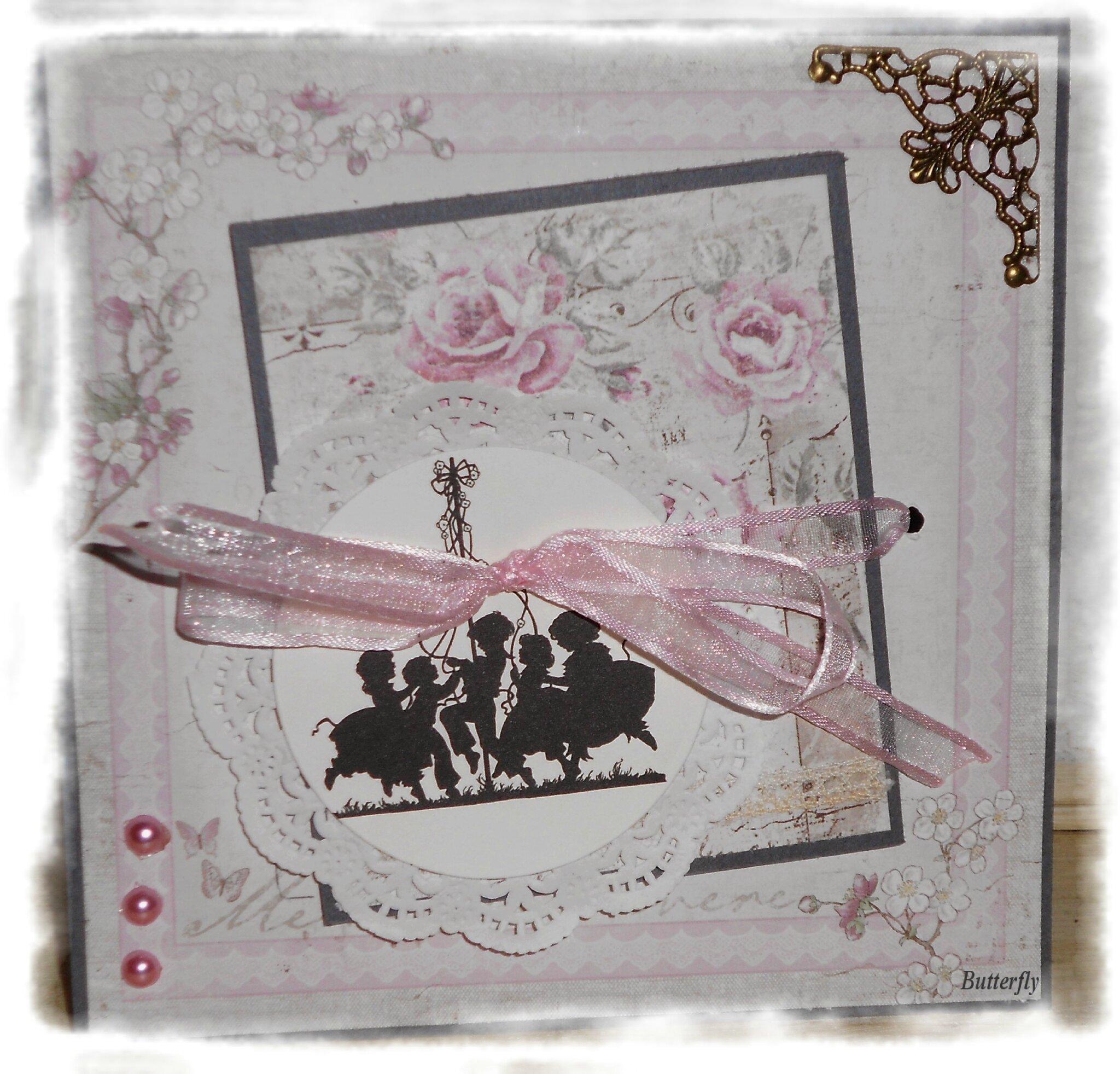 """Bonsoir les filles, une """"folded card """"pour le forum Passion Shabby"""