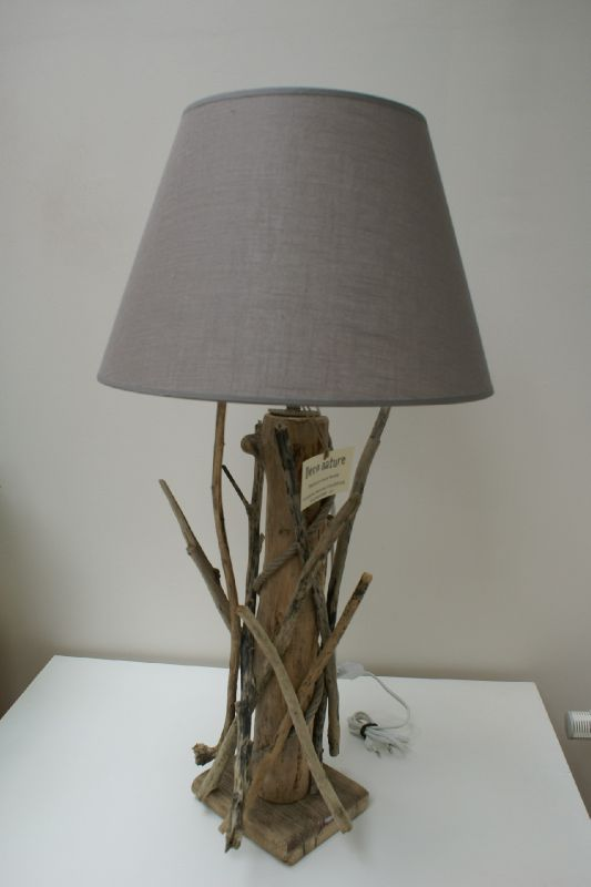 Par pour une premi re expo vente d co nature cr ations for Lampe de chevet bois flotte