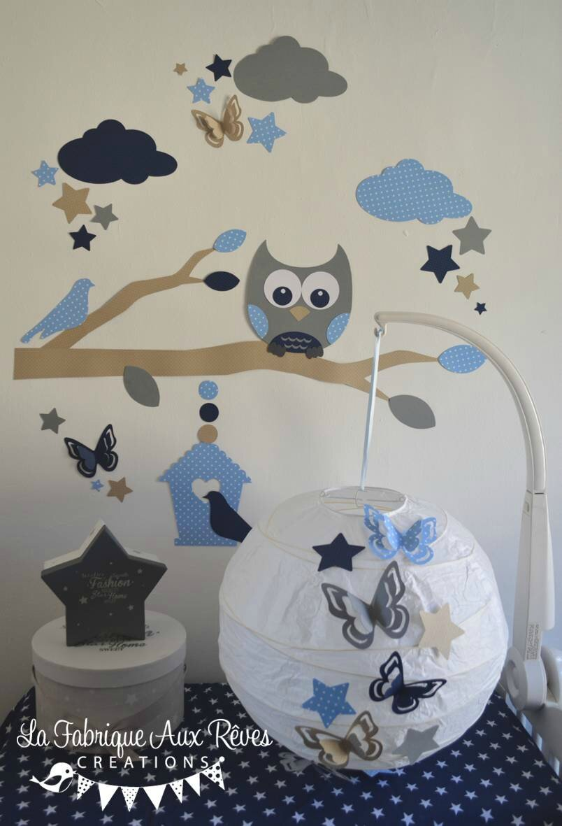 d coration chambre enfant b b gar on hibou chouette branche nuage toiles nichoir bleu marine. Black Bedroom Furniture Sets. Home Design Ideas