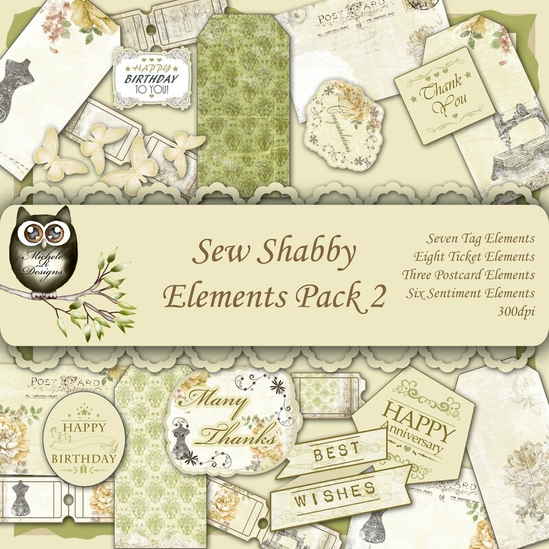 Sew Shabby Elements Front Sheet Pack 2
