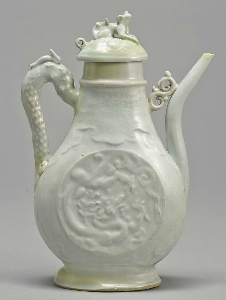 A 'Qingbai' 'Dragon' ewer and cover, Yuan dynasty