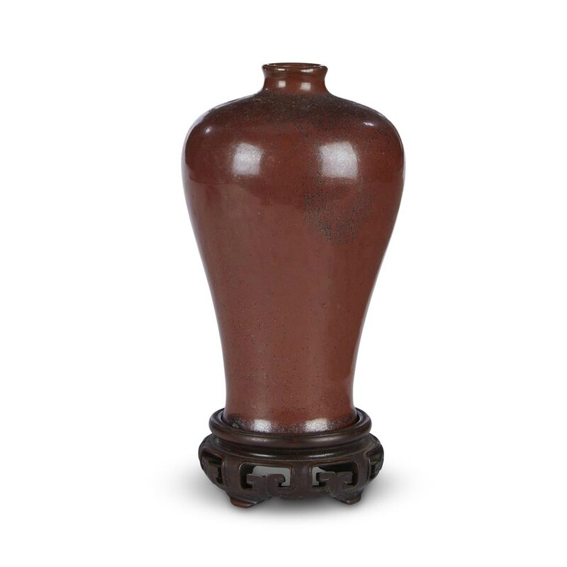A Chinese 'rust-brown' monochrome small meiping vase, 18th century