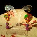 Tranche de canne et perles multicolores