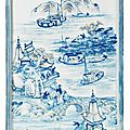 A blue and white and copper-red 'landscape' plaque, kangxi period (1662-1722)