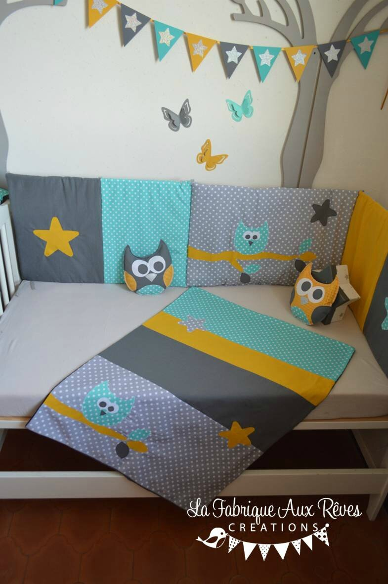 couverture b b hibou toiles turquoise gris fonc gris clair jaune moutarde photo de. Black Bedroom Furniture Sets. Home Design Ideas