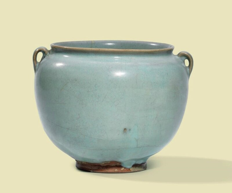 A Jun twin-handled jar, Jin dynasty (1115-1234)