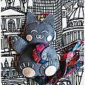 Défi n°356 des sc and more : un cadeau, ici ce sera un porte-bonheur en forme de chat gris, un maneki neko!