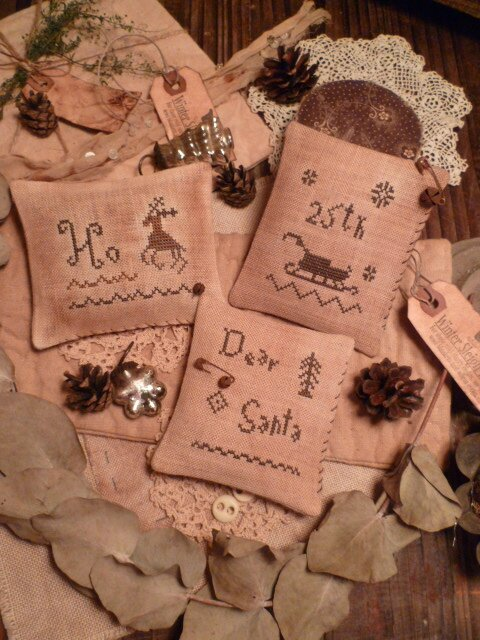 Set of 3 Mini Pillows Ho/ Sleigh and Dear Santa OOAK 1 set ONLY