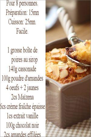 recette amandines poires choco