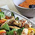 Noix de saint jacques et aiguillettes de poulet sauce thaïe accompagnées de légumes croquants