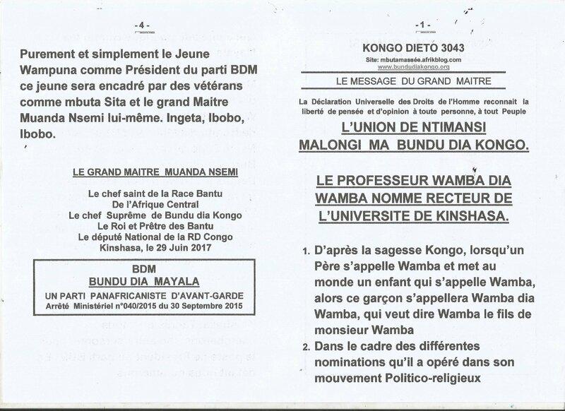 LE PROFESSEUR WAMBA DIA WAMBA NOMME RECTEUR DE L'UNIVERSITE DE KINSHASA a