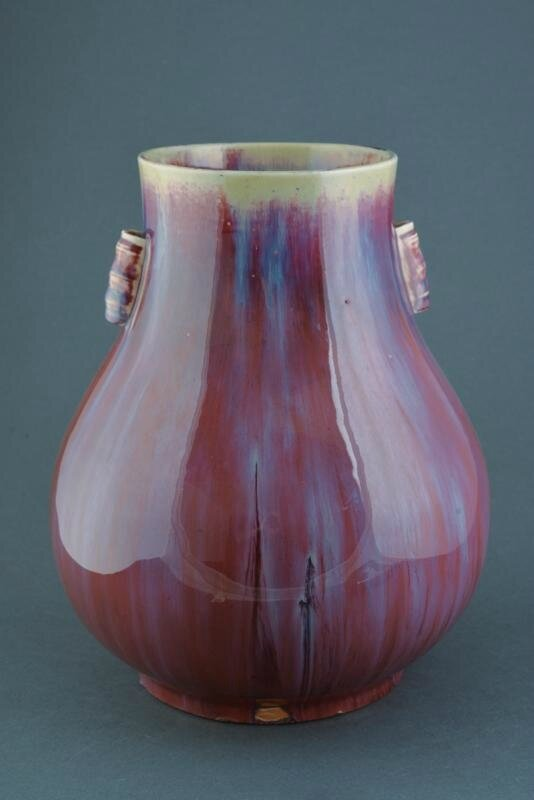 A fine and rare flambé hu shaped porcelain vase, Qing dynasty (1644-1911)
