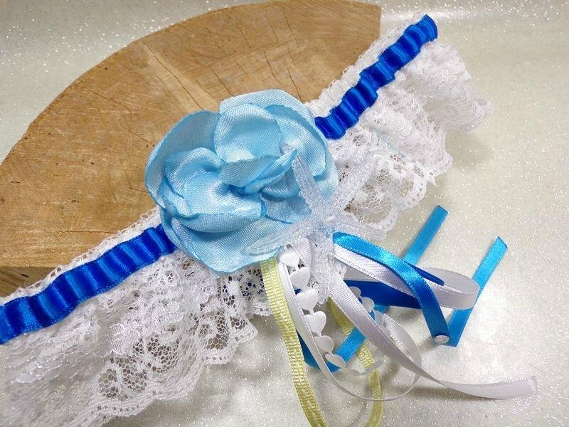 Jarretière de mariée dentelle bleu roi blanc coquillage