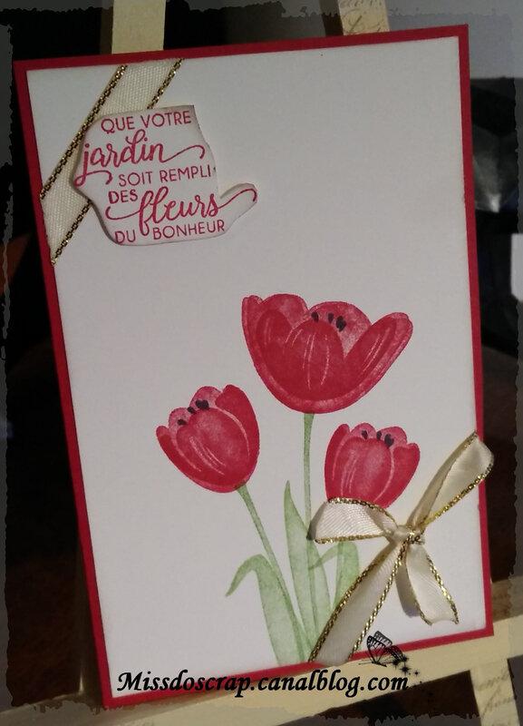 Carte fleur ruban or