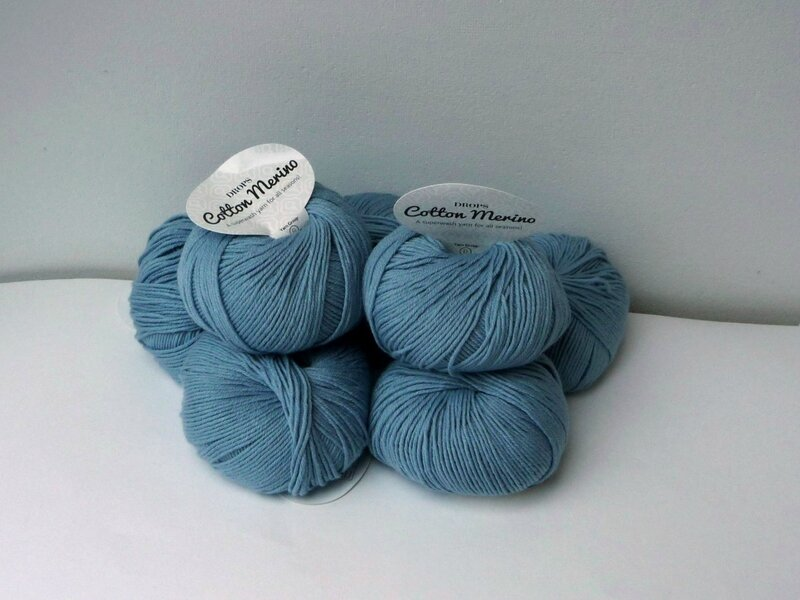 drops cotton merino bleu glaceir