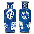 A pair of powder-blue-ground blue and white rouleau vases, kangxi period (1662-1722)