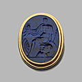 Broche. lapis-lazuli et or. intaille, xviie siècle