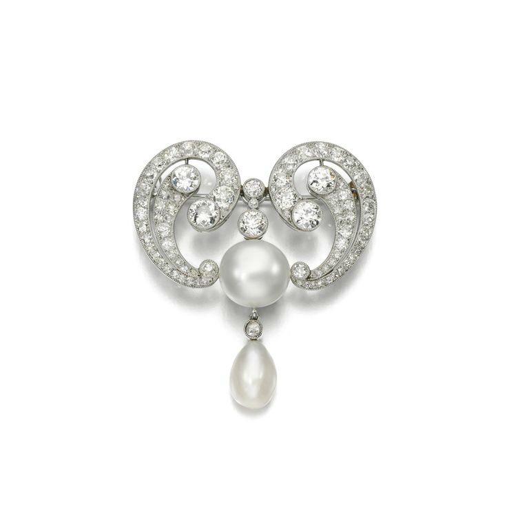 Natural pearl and diamond brooch, early 20th century
