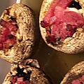 Champignons de paris farcis au kiri et lardons