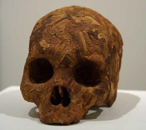 Phillips, Skull: The Peeler, 1998 . Plaster and orange peel, 6 x 5¼ x 8 in / 15 x 13 x 20 cm . AFG 37397. Photo: Courtesy Flowers