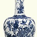 A large dutch delft blue and white bottle vase, circa 1700